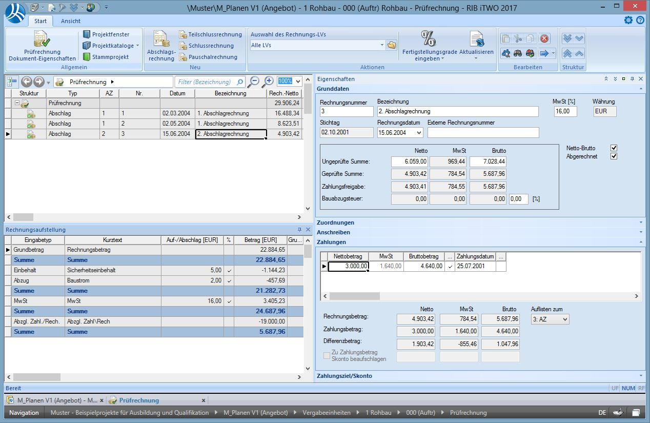 Deduction calculation – invoice checking