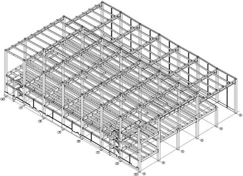 Spatial model of the pre-fabricated parts constructions in the third construction section.