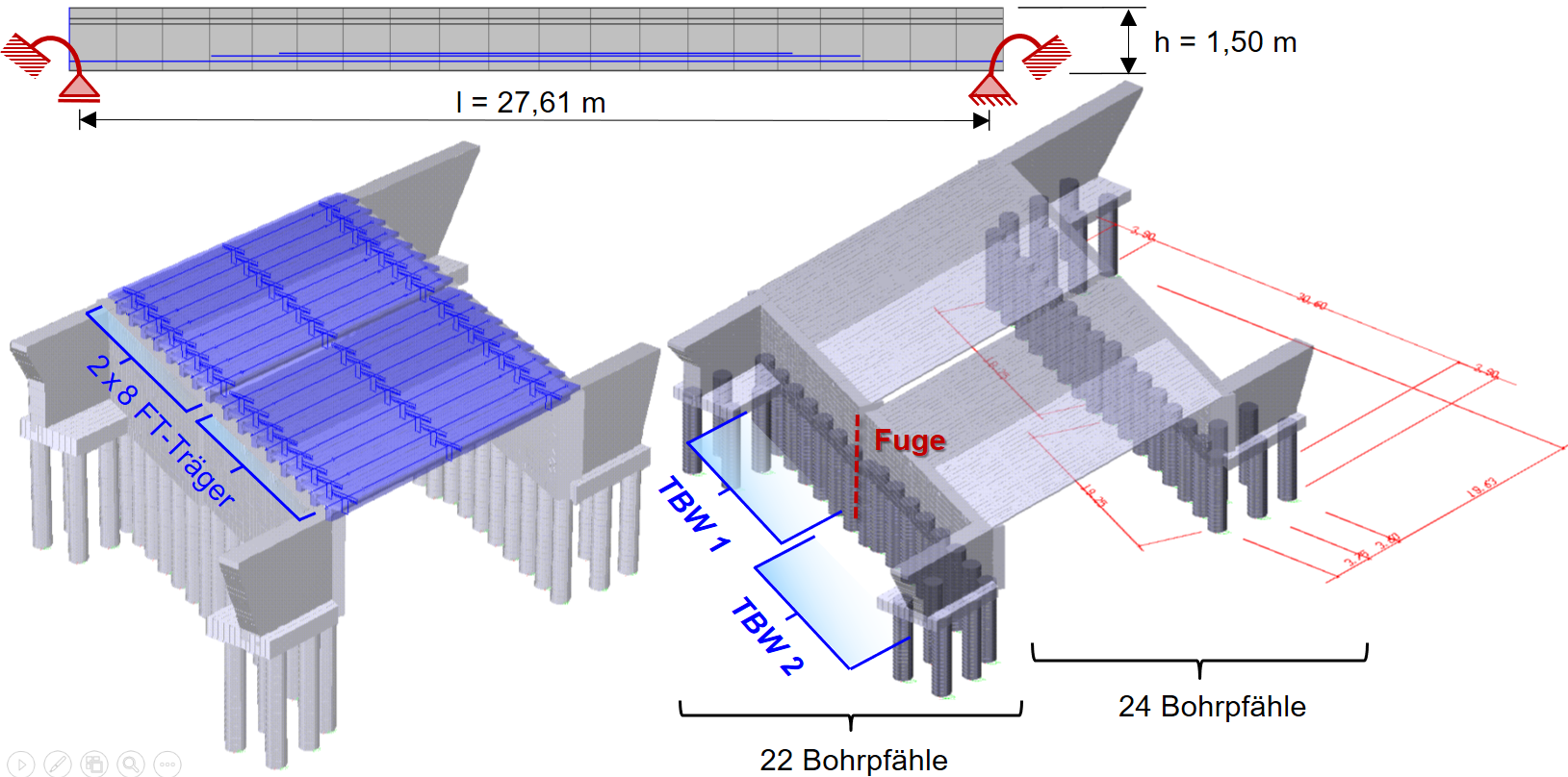 Bridge model as 3D system with pile foundation
