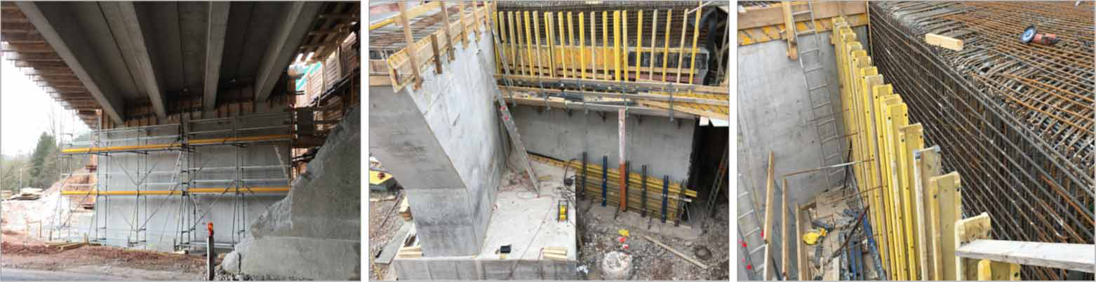 Replaced bridge with construction phases and reinforcement of the clamping into the abutment wall